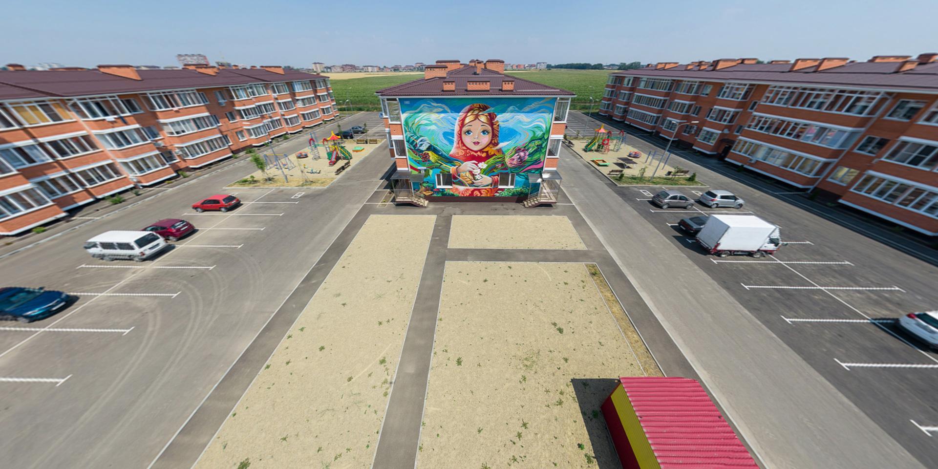 Виртуальный тур из трех 3D панорам для жилищного комплекса Матрешки г.Краснодар. Мы отвечали за сборку, цветокоррекцию, интерфейс и информационные метки, которые обозначают ключевые объекты общественного назначения. Съемку осуществлял заказчик собственными силами.